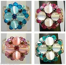 Vintage Beaded Pearl & Swarovski Crystal Ring ANY SIZE + Free Ring Snuggies Kit