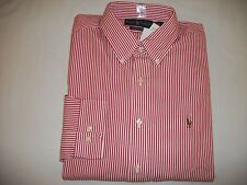 N,W, TAGS RALPH LAUREN CLASSIC FIT MEN'S L/S DRESS SHIRTS - RED /WHITE STRIPES -