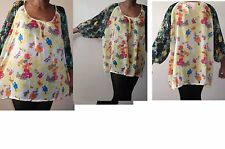 next yellow green black neon floral print sheer blouse  over size cami top uk 16