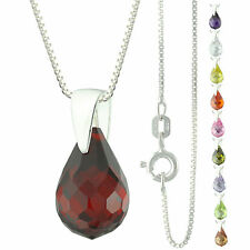 925 Sterling Silver Faceted Briolette Teardrop CZ Pendant Necklace
