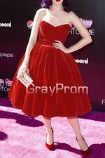 Celebrity Designer Red Mid-calf Strapless Sweetheart Short Party Cocktail Dress