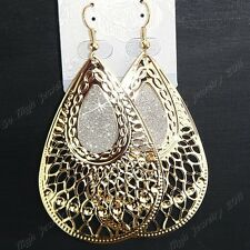 Charms 6pairs/12Pairs Gold Frosted Fashion Hollow Women Drop Earrings Wholesale