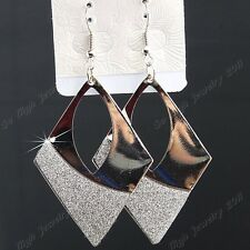 New 12Pairs Silver Frosted Fashion Women Rhombus Drop Earrings Wholesale Jewelry