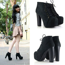 2014 New Women's Fashion High Heel Lace-Up Boots Bootie Ankle Platform Shoes