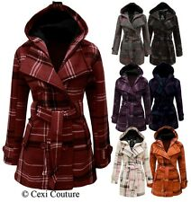 NEW LADIES BELTED BUTTON HOOD CHECK COAT WOMENS HOODED JACKET SIZES 8 10 12 14