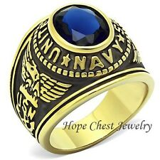 MEN'S GOLD TONE STAINLESS STEEL BLUE CZ UNITED STATES NAVY MILITARY RING SZ 8-14