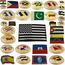 FLAGS BELT BUCKLES OF ASIA, EUROPE, CENTRAL, NORTH & SOUTH AMERICAN COUNTRIES.
