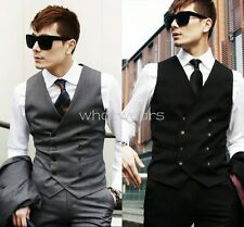 Men Fashion Double-breasted Casual Slim Skinny Business Vest Waistcoat W2619 FST