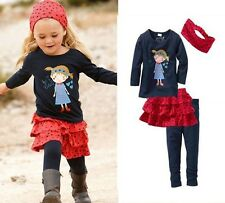Kids Girl 4 Pcs Set T-shirt +Skirt Set Leisure Outfit 0-5Y Baby Cloth 0513