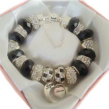 PERSONALISED LUXURY LADIES CHARM BRACELET BEADS GIFT BOXED MOTHERS DAY BIRTHDAY