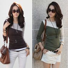 Fashion Womens Lady Slim Long Sleeve Colorblock Tops Blouse Casual T-shirt