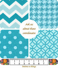 TURQUOISE Flannel Fabric Coordinates Circles Houndstooth Dots Chevron