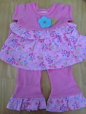 Girls Boutique NEW BABY LULU Simone Ruffle Set 12 18 24 months Top Pants PINK