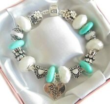 PERSONALISED LADIES/GIRLS TURQUOISE/WHITE CHARM BRACELET BEAD GIFT/PRESENT BOXED
