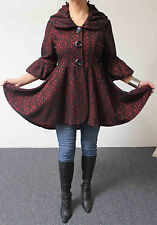 Dashing, High-End Lagenlook Red n Black Jacket coat in M, L,1XL,2XL, 3XL