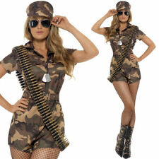 Ladies Army Girl Fancy Dress Costume Military Soldier Uniform Camo Outfit + Hat