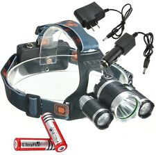 6000LM 3x CREE XM-L2 T6 LED Focus Headlamp Headlight Head Torch Charger Battery