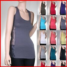 Sexy Side Lace Racer Back Women Sexy cotton Solid Tank Top Cami TEE TANK