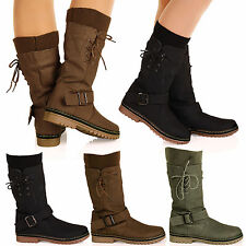 D1Y Womens Ladies Mid Calf Pull On Lace Up Sock Detail Casual Trendy Boots Shoes