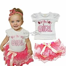 2PCs New Baby Outfit Birthday Girl Top T-shirt Tutu Skirt Pettiskirt Dress Party