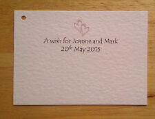 50 PERSONALISED WISH TREE TAGS / CARDS WEDDING ENGAGEMENT ANNIVERSARY HEARTS
