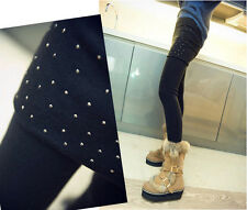 Women's Girls Skirted Leggings Stretch Tight Sexy Hip Skirt Rivets Pantyhose Hot