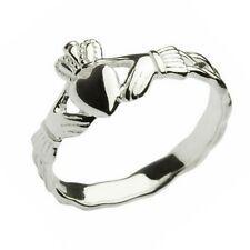 New Ladies Silver Irish Celtic Claddagh Braided Shank Ring Celtic Jewellery