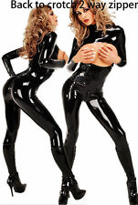 High Class PVC Leather Fetish Zipper Open Bust Wetlook Catsuit Clubwear Catwoman