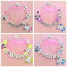 PERSONALISED CHILDRENS/KIDS HELLO KITTY TOOTH FAIRY NAME CHARM BRACELET BEADS