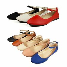 New Women Ankle Strap Ballet Flats Lady Casual Slip On Flat Shoes