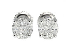 Solitaire Cluster 1/2 ct Genuine Diamond Stud Earrings in 14K Gold (6mm)