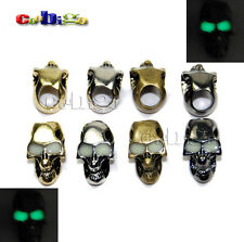 1X Charm Metal Skull Luminous Eyes For Paracord Knife Lanyards Glow In The Dark