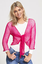 Ladies Fine Knit Cropped Tie Up Cardigan Stretchy Shrug Bolero Sizes 8 10 12