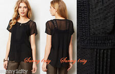 NEW Anthropologie Grassland Blouse By Meadow Rue, Sz S, Black, Silk Blend!