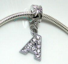 Personalized A TO Z Charm Bead Stopper Lock Clip fit Authentic European bracelet