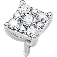 14K Solid White Gold 1/3 ct tw Diamond Square Shape Cluster Peg Setting Findings