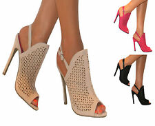 LADIES GLADIATOR CUT OUT STILETTO HIGH HEELS ANKLE STRAP SLINGBACK PEEP TOE SHOE