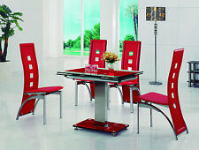 ENZA EXTENDING GLASS CHROME DINING ROOM TABLE & 4 CHAIRS SET-FURNITURE-IJ525-811