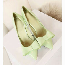 US5-10 Vogue Patent Leather Pointed-toe Shallow Mouth Bowknot Womens Pumps Shoes