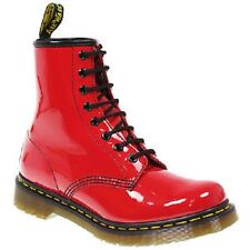 NEW GENUINE DOCS DR MARTENS WOMENS RED PATENT LEATHER 8 eye BOOTS