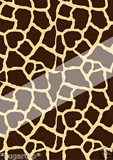 GIRAFFE PRINT ~  EDIBLE Rice Paper Decorations Cake Toppers A4 Sheet 200 x 290mm