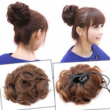 100% Virgin Human Hair Stretch Scrunchie Wrap For Wave Curly Hair Buns Hairpiece