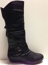 "WOMENS SHOES""RAMP""BY NO!SHOES FLAT WEDGE HEEL KNEE HIGH  BOOT BLK AND TAN SMOOTH"