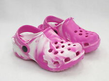 Girls Foam Rubber Marble Swirl Coloured Clogs Shoes