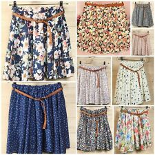 Women Ladies Floral Chiffon Pleated Lined Skirts Summer Short Sundress With Belt