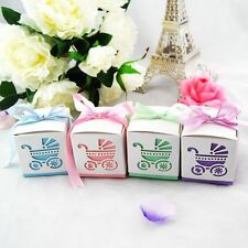 10x Pram Square Baby Shower Thank You Christening Bomboniere Favour Boxes+Ribbon