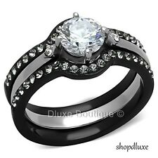 1.90 CT ROUND CUT CZ BLACK STAINLESS STEEL WEDDING RING SET WOMEN'S SIZE 5-11