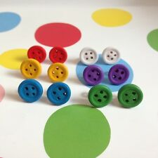 KITSCH CUTE BRIGHT SMALL BUTTON STUD EARRINGS