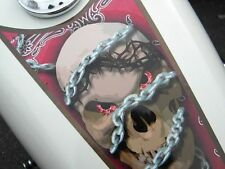 Fuel tank & fender decals Harley & all motorcycles  'Chained Skull' 4pc Set