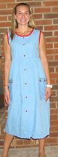 """Dress, Duster, Housedress, Blue Red Trim, """"Made in USA"""""""